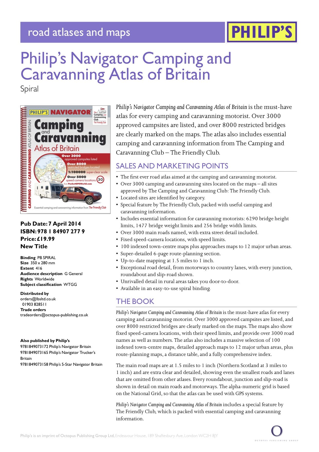 Philip's 1st edition of Navigator Camping & Caravanning Atlas of Britain