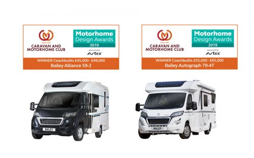 Bailey motorhomes scoop top awards in 'Motorhome Design Awards' 2019 Competition