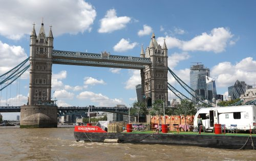 Julia Bradbury pitches up at Tower Bridge on a floating campsite