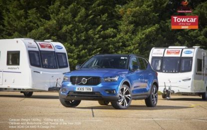 Volvo XC40 wins Caravan & Motorhome Club Towcar of the Year Award