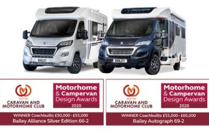 Bailey motorhomes shine once again in Motorhome & Campervan Design Awards 2020