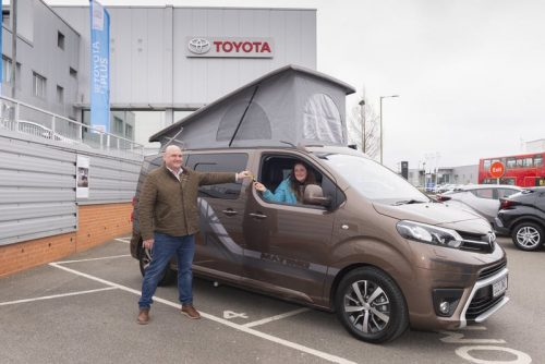 Wellhouse Leisure Toyota Proace Matino campervan presented to BBC Children in Need's 2020 Appeal 'Campervan & Staycation Goodies' competition winner