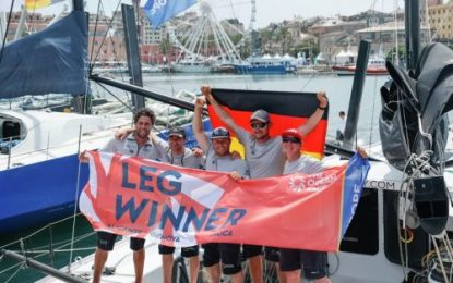 Offshore Team Germany hold their nerve to claim Leg3 IMOCA class victory in Genova
