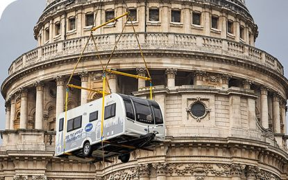 Caravans can fly! A new Bailey Unicorn flies over London to celebrate staycations and caravanning